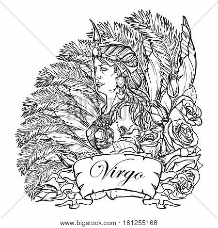Beautiful woman with a decorative flower frame. Zodiac Art Nouveau luxury style set. Virgo. Tattoo design. Black linear drawing isolated on white. EPS10 vector illustration.