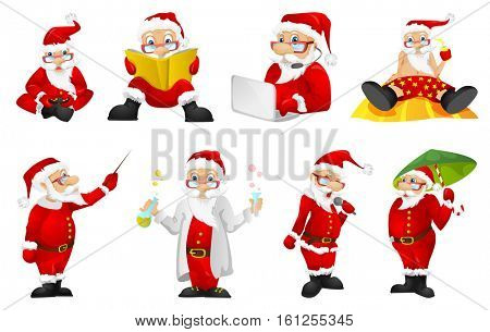 Set of funny Santa Claus characters playing video game with gaming console in hands. Set of Santa Claus characters playing video game on a laptop. Vector illustration isolated on white background.
