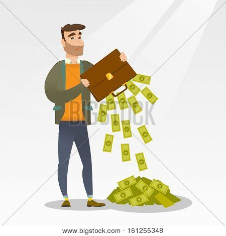 Depressed caucasian bankrupt businessman shaking out money from his briefcase. Despaired bankrupt businessman emptying a briefcase. Bankruptcy concept. Vector flat design illustration. Square layout.