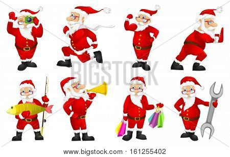 Set of Santa Claus characters holding shopping bags. Set of Santa Claus characters talking into a megaphone. Santa Claus characters using photo camera. Vector illustration isolated on white background