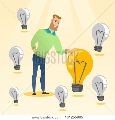 Caucasian business man having business idea. Young business man standing among unlit idea light bulbs and looking at the brightest idea light bulb. Vector flat design illustration. Square layout.
