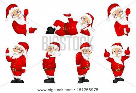 Set of Santa Claus in glasses and red costume pointing finger up. Cheerful Santa Claus showing thumbs up. Smiling Santa Claus pointing at billboard. Vector illustration isolated on white background.