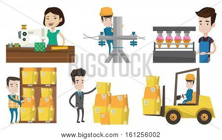 Warehouse worker scanning barcode. Warehouse worker checking barcode of boxes with scanner. Warehouse worker working with scanner. Set of vector flat design illustrations isolated on white background.
