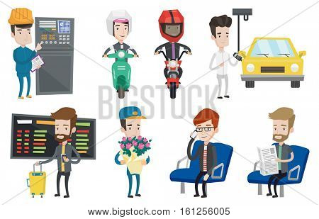 Young man using mobile phone in public transport. Man reading newspaper in public transport. People traveling by public transport. Set of vector flat design illustrations isolated on white background.