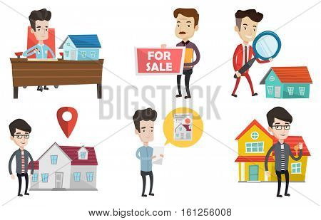 Happy new owner of house signing home purchase contract. Caucasian real estate agent signing home purchase contract in office. Set of vector flat design illustrations isolated on white background.