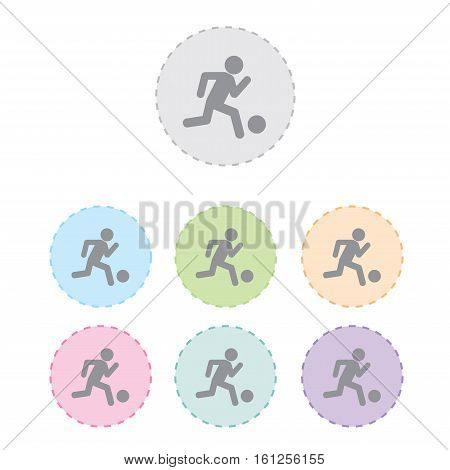 Soccer player icon button set. vector illustration