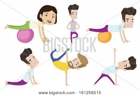 Young caucasian sporty man training with fitball. Happy sportsman doing push ups on fitball. Sportsman doing exercises on fitball. Set of vector flat design illustrations isolated on white background.