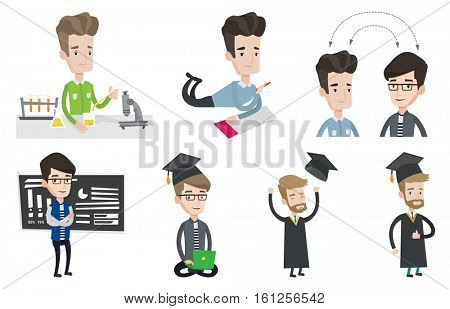 Student carrying out laboratory experiment. Student working with microscope at laboratory class. Student experimenting in laboratory. Set of vector flat illustrations isolated on white background.