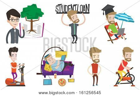 Caucasian man holding sign of student loan. Young man carrying heavy sign - student loan. Student working on a laptop outdoors. Set of vector flat design illustrations isolated on white background.