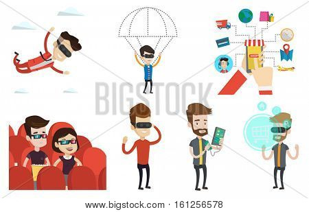 Man in virtual reality headset flying in the sky. Man in virtual reality headset doing shopping. Man flying in virtual reality. Set of vector flat design illustrations isolated on white background.