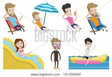 Caucasian tourist sitting in a chaise longue on the beach. Tourist resting under beach umbrella. Man relaxing during beach holiday. Set of vector flat design illustrations isolated on white background