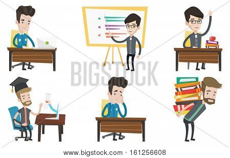 Caucasian teacher or student standing in front of board. Teacher with a pointer standing in classroom. Young teacher with pointer. Set of vector flat design illustrations isolated on white background.