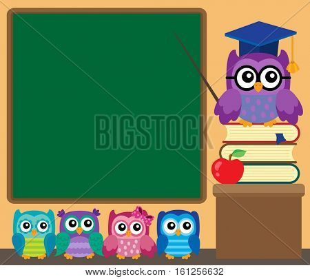 Owl teacher and owlets theme image 1 - eps10 vector illustration.