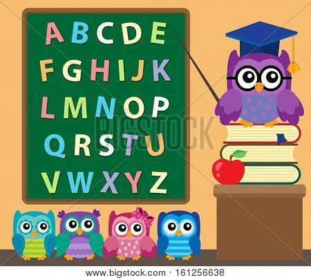 Owl teacher and owlets theme image 2 - eps10 vector illustration.