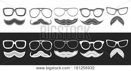 Set of hipster nerd glasses and stylish mustaches on white and black. Web Banner Vector Flat Design. Vector Mustache and Glasses Icons. Hipster creative design template illustration