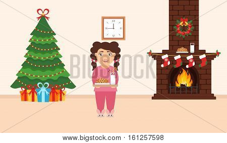 Festive design of the room. Brick fireplace Christmas wreath milk and cookies for cute Santa festive decorated treegifts and girl. Vector in flat style. Merry Christmas and Happy New year.