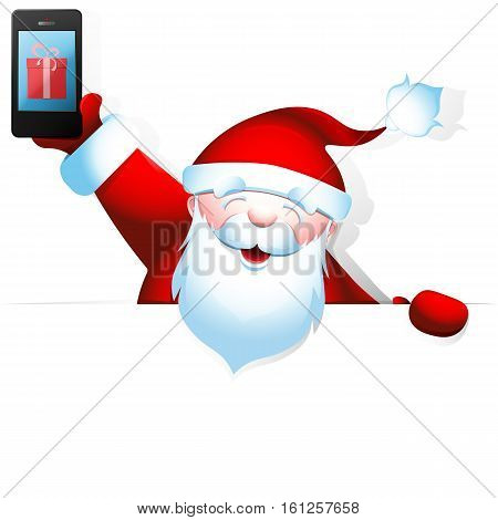 Cheerful Santa Claus holding a  in one hand and a blank banner with space for your text in another. Vector illustration