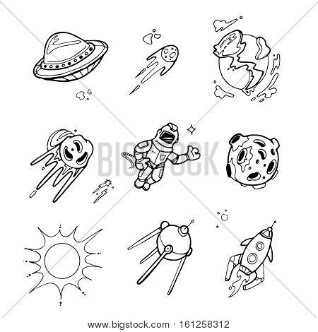 Planets, rockets, spaceships, ufo, stars, astronaut, alien vector set in sketch, doodle hand drawn style. Satellite rocket and meteor, sun and spacecraft rocket illustration