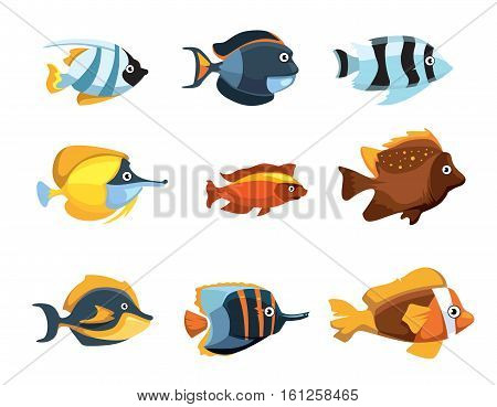 Cute cartoon tropical exotic freshwater aquarium fishes vector set. Animal colored fish, illustration of nature fish
