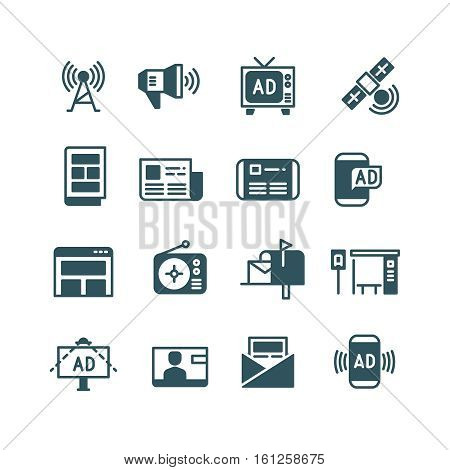 Advertisement on screen, advertising on television, outdoor ad, online ads vector icons. Advertisement and announcement broadcast radio, advertising in newspaper and TV illustration