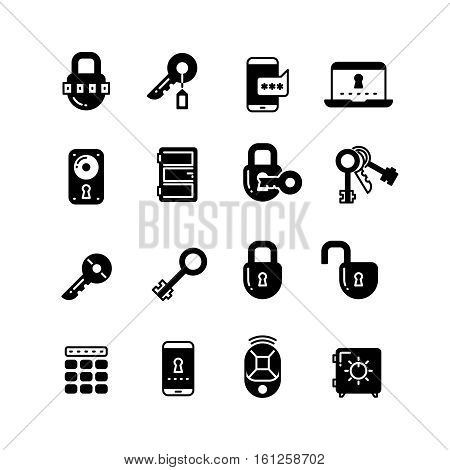 Key and lock, web access security, safe internet vector icons. Protection and lock, security and safety interner illustration