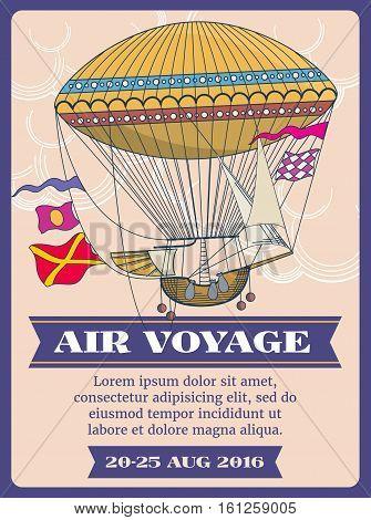Hot air balloon cartoon vector illustration. Festival air balloon voyage banner, air transport balloon