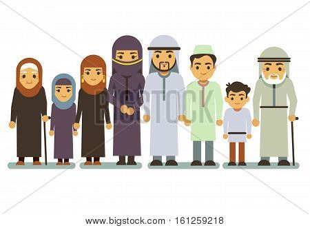 Arab happy smiling family vector characters. Islamic parents, saudi man, woman, children, teen. Islamic family parens and children, illustration of muslim big family