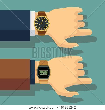 Businessmans hand with wrist watch. Save time, punctuality vector concept. Business wristwatch, human hand with watch illustration