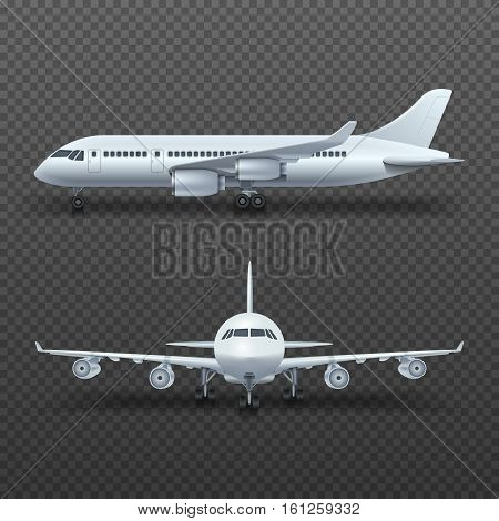 Realistic 3d detail airplane, commercial jet isolated vector illustration. Airplane for travel transportation, commercial air plane passenger