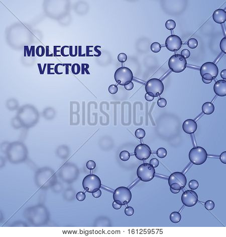 Chemical vector nanotechnology background with 3d macro molecules. Molecular structure substance and pattern with molecules illustration