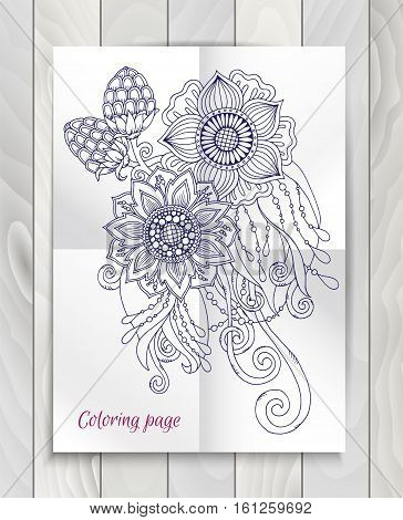 Floral element for card. Hand drawn artwork with abstract flowers. Background for web, printed media design. Mehendi henna tattoo doodle style. Banner, business card, flyer, invitation, greeting card, postcard.
