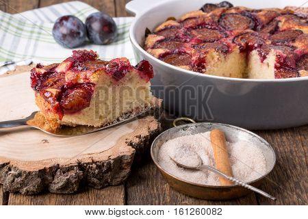Homemade fruit cake. Original plum torte. Rustic style.