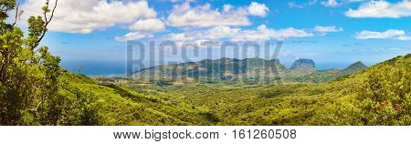 View from the viewpoint. Le Morn Brabant on background. Mauritius. Panorama