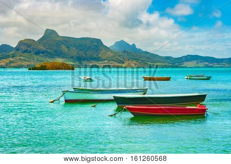 Boats in a sea at day time. Mauritius