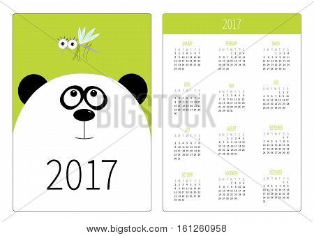 Pocket calendar 2017 year. Week starts Sunday. Flat design Vertical orientation Template. Panda bear big head looking at honey mosquito insect. Cute cartoon animal character. Green background. Vector