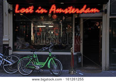 AMSTERDAM, NETHERLANDS - MAY 3, 2016: Lounge Cafe «Lost in Amsterdam» in the city center Nieuwendijk street in Amsterdam, the Netherlands
