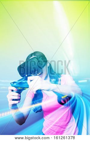 Double exposure of happy woman playing VR-headset glasses for virtual reality concept