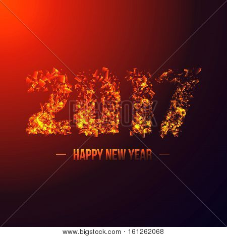 2017 abstract numeric. New year concept with 3D illuminated explosion effect glowing particles. Neon blast. Vector illustration.