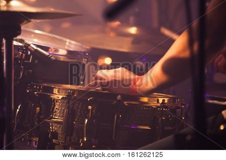 Drummer Plays On Drum Set, Toned