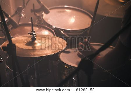 Drummer Plays On Rock Drum Set