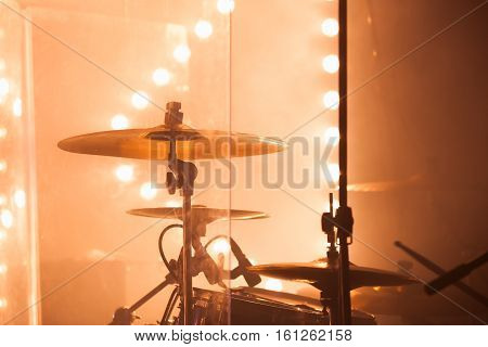 Drum Set, Cymbals And Blurred Lights