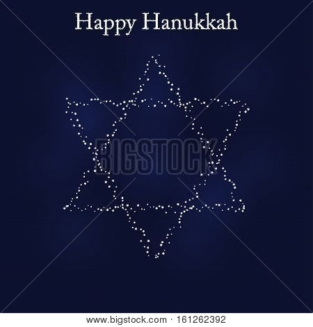 Greeting card for the Jewish holiday of Hanukkah. Star of David shaped out of stars
