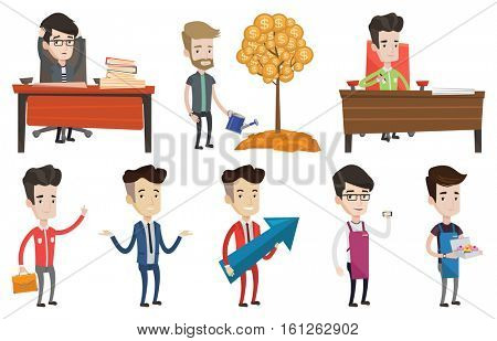 Businessman signing business contract. Man is about to sign business contract. Confirmation of transaction by signing of contract. Set of vector flat design illustrations isolated on white background.