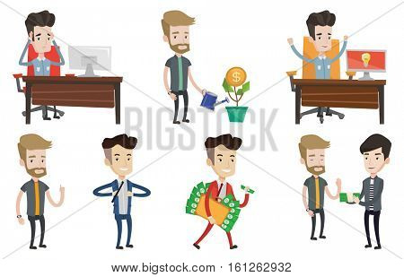 Businessman giving a bribe. Uncorrupted man refusing to take a bribe. Man rejecting to take bribe. Bribery and corruption concept. Set of vector flat design illustrations isolated on white background.
