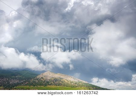 clouds over the mountain tops / bright daytime landscape Crimea