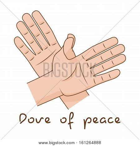 Hands making fly of bird. Vector illustration. Dove of peace sign creative idea