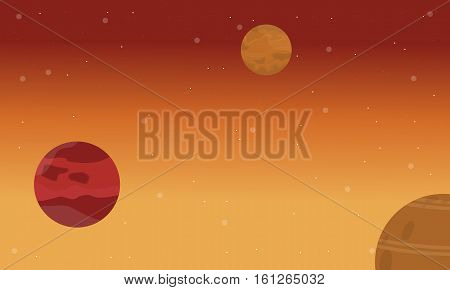 Vector flat of planet on space landscape collection stock