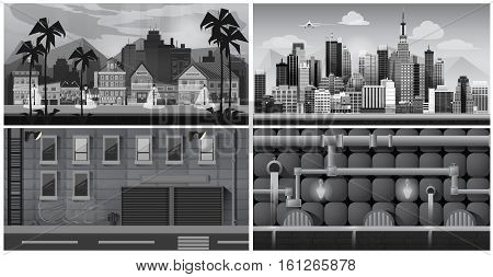 Set of black and white panorama cities. Vector illustration for games. canalization, town, street