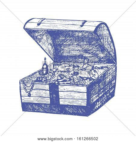 Open Full Pirate Treasure Chest and Coin Hand Draw Sketch. Retro Vintage Style. Vector illustration