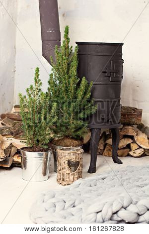 Black Cast Iron Stove, Firewood, Fir-tree, Candle